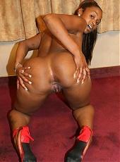 Big booty ebony Kara Kane takes ass pounding and cum glazing from a big fat black cock