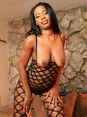 Ebony in bodystockings Extacy heats it up and grinds on top of her partner to fuck his dick