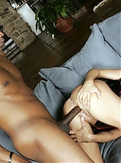 Naughty black chick Alexis Silver gives her buddy a sinful blowjob and got her pussy drilled live