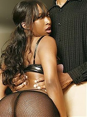 Intense webcam show with sexy black pornstar Stacey Cash fucking an older dude on the couch